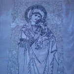 "Daniel's stitch out using metallic threads of ""SAS_Mary And Baby Jesus""View the Design"