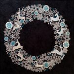 "Helen's Wreath using metallic threads and quilting  from ""SAS_Wreath Of Reindeer""View the Design"