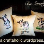 Sarah Jaynes pillows using Cow Patch View The Collection Here