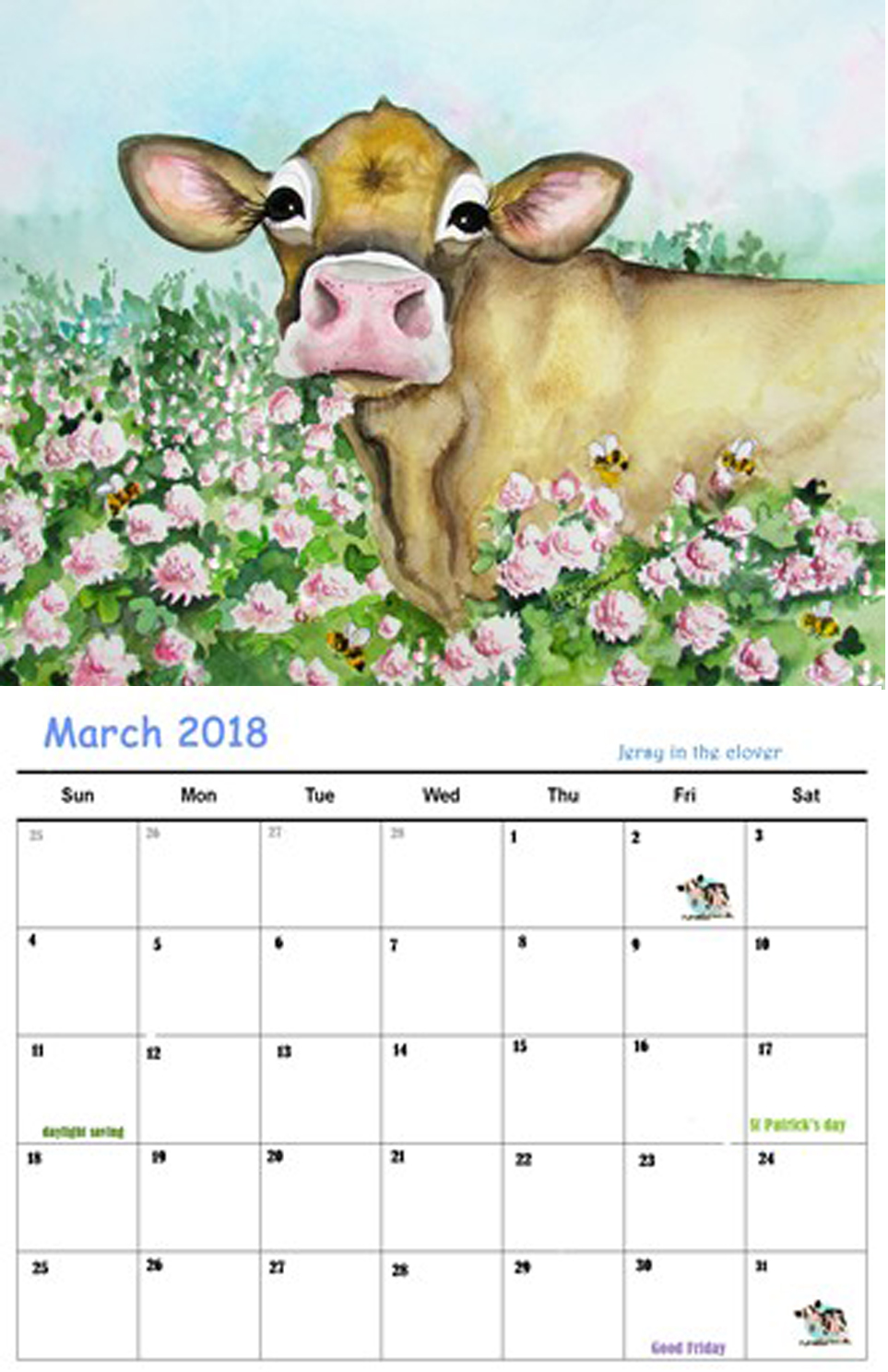 2018 cow calendar kreations by kara