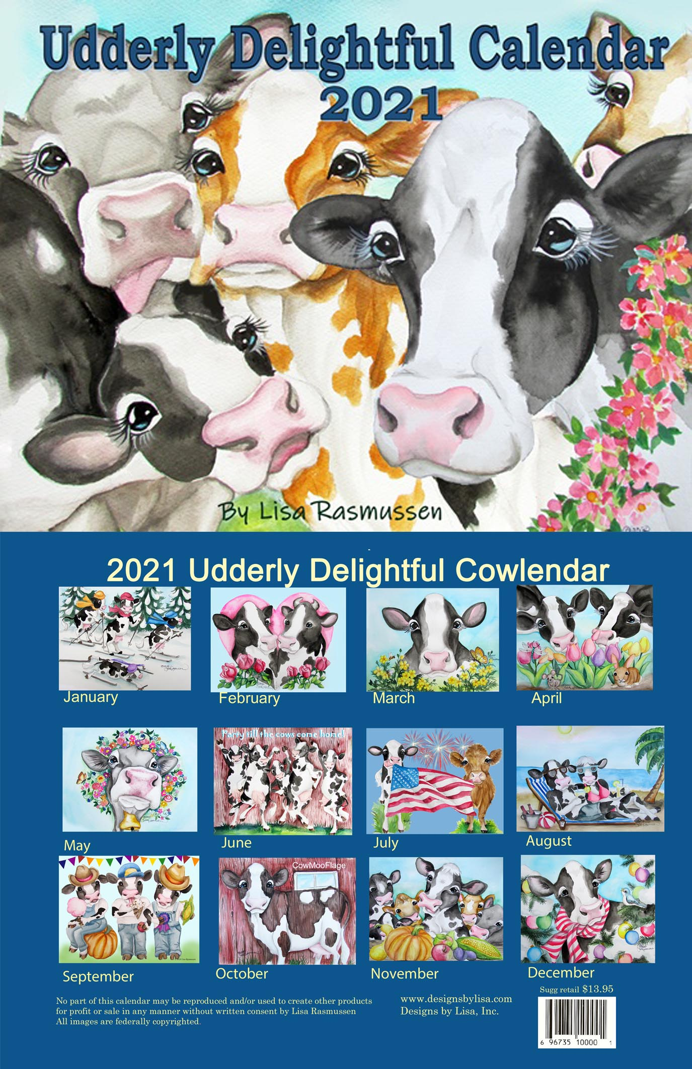 Cow Calendar 2021 2021 Cow Calendar   Kreations by Kara