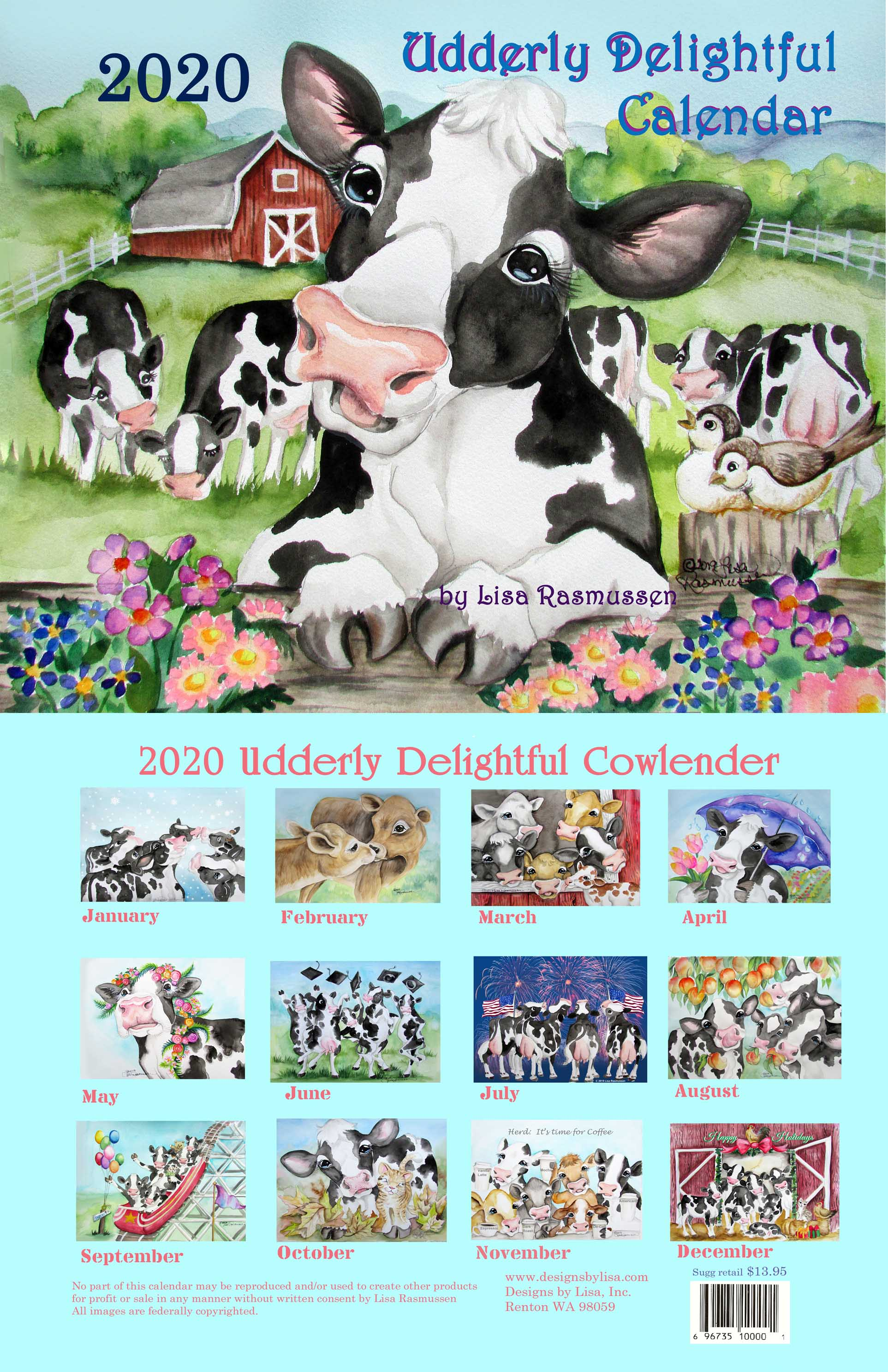 Cow Calendar January 2020 2020 Cow Calendar   Kreations by Kara