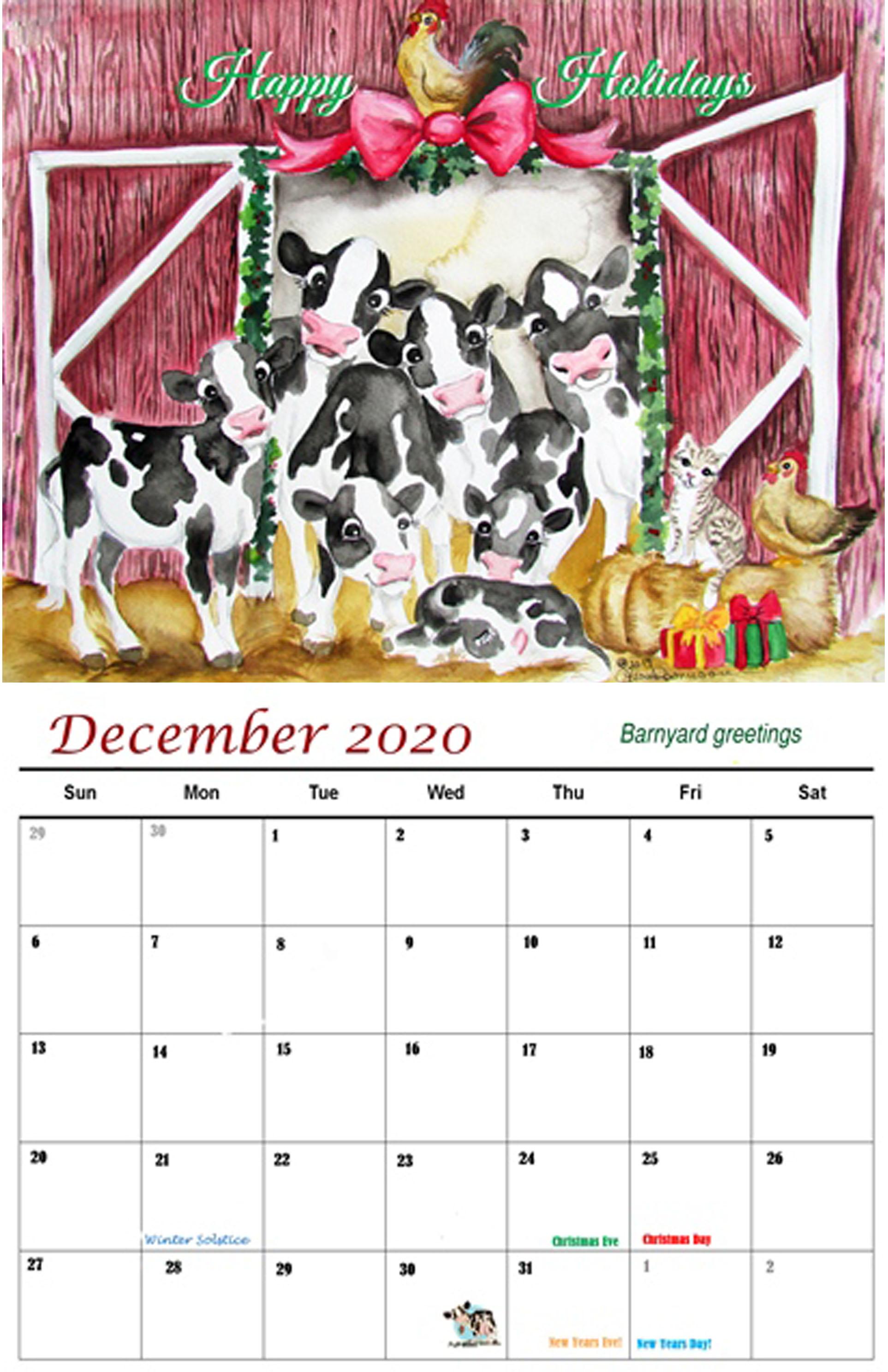 Cow Calendar December 2020 2020 Cow Calendar   Kreations by Kara